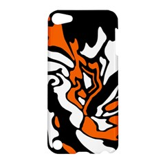 Orange, White And Black Decor Apple Ipod Touch 5 Hardshell Case by Valentinaart