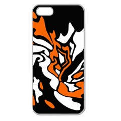 Orange, White And Black Decor Apple Seamless Iphone 5 Case (clear) by Valentinaart