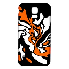 Orange, White And Black Decor Samsung Galaxy S5 Back Case (white)