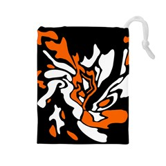 Orange, White And Black Decor Drawstring Pouches (large)  by Valentinaart