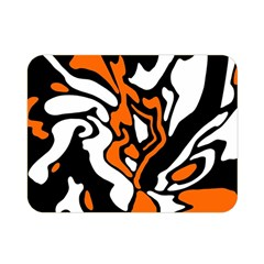 Orange, White And Black Decor Double Sided Flano Blanket (mini)  by Valentinaart