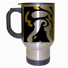 Yellow, Black And White Decor Travel Mug (silver Gray) by Valentinaart