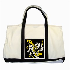 Yellow, Black And White Decor Two Tone Tote Bag