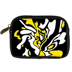 Yellow, Black And White Decor Digital Camera Cases by Valentinaart
