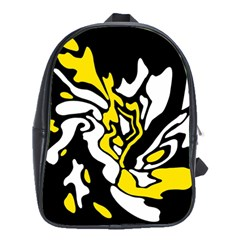 Yellow, Black And White Decor School Bags(large)  by Valentinaart