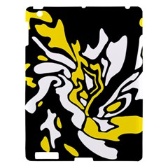 Yellow, Black And White Decor Apple Ipad 3/4 Hardshell Case by Valentinaart