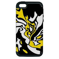 Yellow, Black And White Decor Apple Iphone 5 Hardshell Case (pc+silicone) by Valentinaart