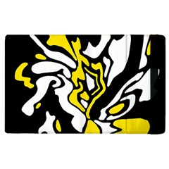Yellow, Black And White Decor Apple Ipad 2 Flip Case by Valentinaart