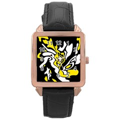 Yellow, Black And White Decor Rose Gold Leather Watch  by Valentinaart