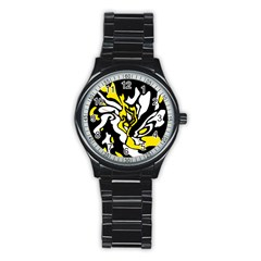 Yellow, Black And White Decor Stainless Steel Round Watch by Valentinaart