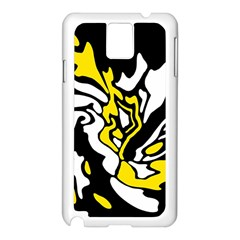 Yellow, Black And White Decor Samsung Galaxy Note 3 N9005 Case (white) by Valentinaart
