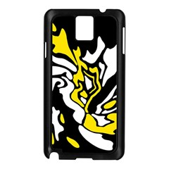 Yellow, Black And White Decor Samsung Galaxy Note 3 N9005 Case (black) by Valentinaart
