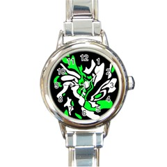 Green, White And Black Decor Round Italian Charm Watch by Valentinaart