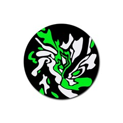 Green, White And Black Decor Rubber Round Coaster (4 Pack)  by Valentinaart