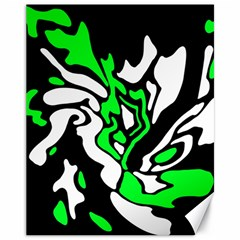 Green, White And Black Decor Canvas 11  X 14   by Valentinaart