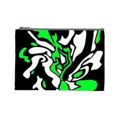 Green, White And Black Decor Cosmetic Bag (large)  by Valentinaart