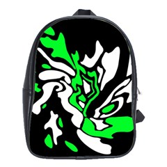 Green, White And Black Decor School Bags(large)  by Valentinaart