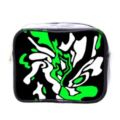 Green, White And Black Decor Mini Toiletries Bags by Valentinaart