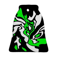 Green, White And Black Decor Bell Ornament (2 Sides)