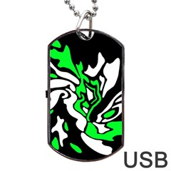 Green, White And Black Decor Dog Tag Usb Flash (one Side) by Valentinaart