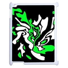 Green, White And Black Decor Apple Ipad 2 Case (white) by Valentinaart