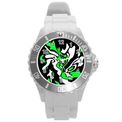 Green, White And Black Decor Round Plastic Sport Watch (l) by Valentinaart
