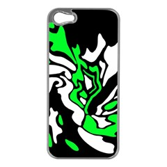 Green, White And Black Decor Apple Iphone 5 Case (silver) by Valentinaart