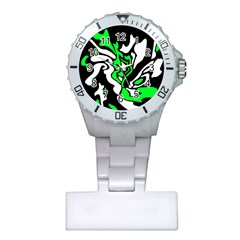 Green, White And Black Decor Plastic Nurses Watch by Valentinaart