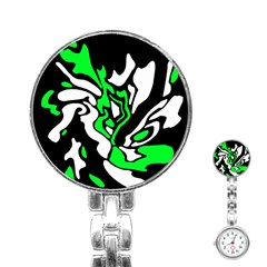 Green, White And Black Decor Stainless Steel Nurses Watch by Valentinaart