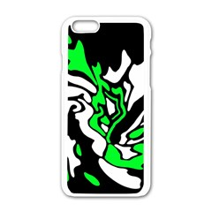 Green, White And Black Decor Apple Iphone 6/6s White Enamel Case