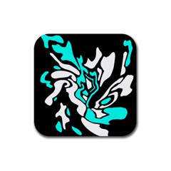 Cyan, Black And White Decor Rubber Coaster (square)  by Valentinaart