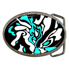 Cyan, Black And White Decor Belt Buckles by Valentinaart