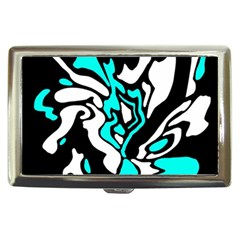 Cyan, Black And White Decor Cigarette Money Cases by Valentinaart