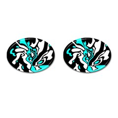 Cyan, Black And White Decor Cufflinks (oval) by Valentinaart