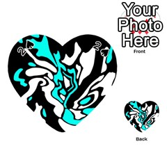 Cyan, Black And White Decor Playing Cards 54 (heart)  by Valentinaart
