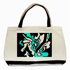 Cyan, Black And White Decor Basic Tote Bag (two Sides) by Valentinaart