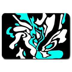 Cyan, Black And White Decor Large Doormat