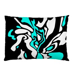 Cyan, Black And White Decor Pillow Case by Valentinaart