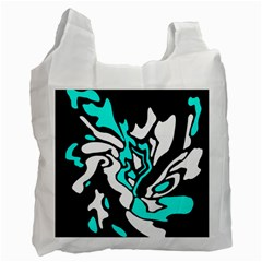 Cyan, Black And White Decor Recycle Bag (one Side) by Valentinaart