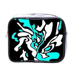 Cyan, Black And White Decor Mini Toiletries Bags by Valentinaart