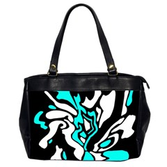 Cyan, Black And White Decor Office Handbags (2 Sides)  by Valentinaart