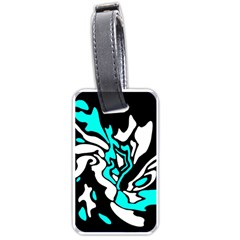 Cyan, Black And White Decor Luggage Tags (two Sides) by Valentinaart