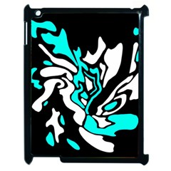 Cyan, Black And White Decor Apple Ipad 2 Case (black) by Valentinaart