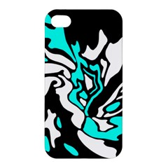 Cyan, Black And White Decor Apple Iphone 4/4s Hardshell Case by Valentinaart