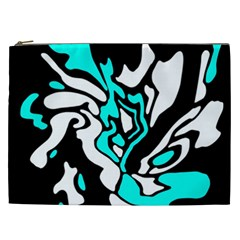 Cyan, Black And White Decor Cosmetic Bag (xxl)  by Valentinaart