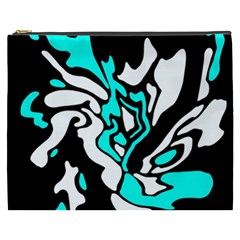 Cyan, Black And White Decor Cosmetic Bag (xxxl)  by Valentinaart