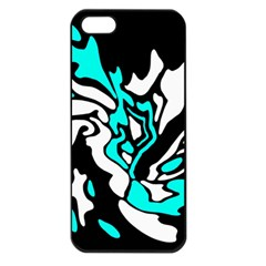 Cyan, Black And White Decor Apple Iphone 5 Seamless Case (black) by Valentinaart