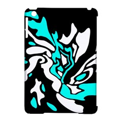 Cyan, Black And White Decor Apple Ipad Mini Hardshell Case (compatible With Smart Cover) by Valentinaart