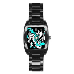 Cyan, Black And White Decor Stainless Steel Barrel Watch by Valentinaart