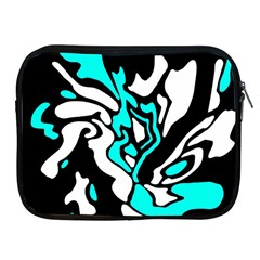 Cyan, Black And White Decor Apple Ipad 2/3/4 Zipper Cases by Valentinaart